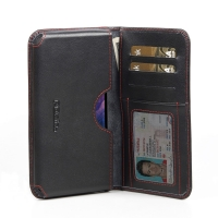 Nexus 5 Leather Wallet Sleeve Case (Red Stitch) PDair Premium Hadmade Genuine Leather Protective Case Sleeve Wallet