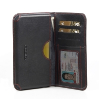 Nexus 4 Leather Wallet Sleeve Case (Red Stitch) PDair Premium Hadmade Genuine Leather Protective Case Sleeve Wallet