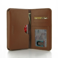 LG Optimus G Pro Leather Wallet Sleeve Case (Brown) PDair Premium Hadmade Genuine Leather Protective Case Sleeve Wallet