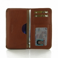 Leather Card Wallet for Motorola DROID Turbo XT1254 (Brown Pebble Leather)