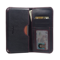 Leather Card Wallet for OPPO N3 (Red Stitch)