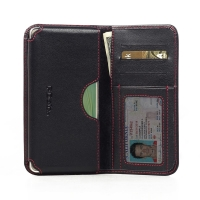 Leather Card Wallet for Samsung Galaxy A7 SM-A700 (Red Stitch)