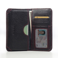 Leather Card Wallet for Samsung Galaxy A7 SM-A700 (Black Pebble Leather/Red Stitch)