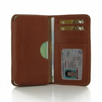 Leather Card Wallet for Samsung Galaxy A7 SM-A700 (Brown Pebble Leather)