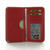 Leather Card Wallet for Samsung Galaxy A7 SM-A700 (Red)