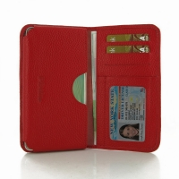 Leather Card Wallet for Samsung Galaxy A7 SM-A700 (Red Pebble Leather)