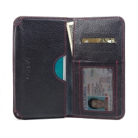 Leather Card Wallet for Samsung Galaxy J5 SM-J500F (Black Pebble Leather/Red Stitch)