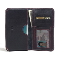 Leather Card Wallet for Samsung Galaxy J7 SM-J700F (Red Stitch)