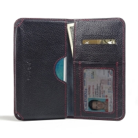 Leather Card Wallet for Samsung Galaxy J7 SM-J700F (Black Pebble Leather/Red Stitch)