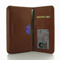 Leather Card Wallet for Samsung Galaxy Note 4 | Samsung Galaxy Note4 | SM-N910 (Brown Pebble Leather)