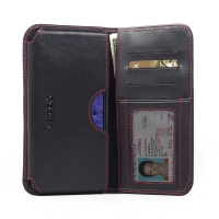 Leather Card Wallet for Samsung Galaxy Note 4 | Samsung Galaxy Note4 | SM-N910 (in Slim Case/Cover) (Red Stitch)