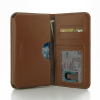 Samsung Galaxy Note Edge Leather Wallet Sleeve Case (Brown) PDair Premium Hadmade Genuine Leather Protective Case Sleeve Wallet