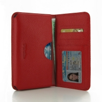 Samsung Galaxy Note Edge Leather Wallet Sleeve Case (Red Pebble Leather) PDair Premium Hadmade Genuine Leather Protective Case Sleeve Wallet
