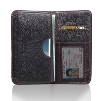 Leather Card Wallet for Samsung Galaxy Note 2 | Samsung Galaxy Note2 | GT-N7100 (Black Pebble Leather/Red Stitch)