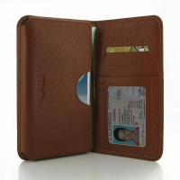 Leather Card Wallet for Samsung Galaxy Note 2 | Samsung Galaxy Note2 | GT-N7100 (Brown Pebble Leather)