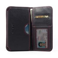Leather Card Wallet for Samsung Galaxy Note 2 | Samsung Galaxy Note2 | GT-N7100 (Red Stitch)