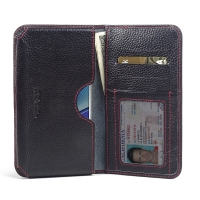Leather Card Wallet for Samsung Galaxy Note 5 | Samsung Galaxy Note5 (Black Pebble Leather/Red Stitch)