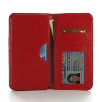 Leather Card Wallet for Samsung Galaxy Note 5 | Samsung Galaxy Note5 (Red Pebble Leather)