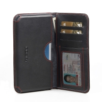 Leather Card Wallet for Samsung Galaxy S III S3 GT-i9300 (Red Stitch)