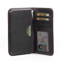Leather Card Wallet for Samsung Galaxy S4 SIV LTE GT-i9500 GT-i9505 (Red Stitch)