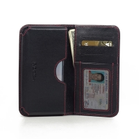 Leather Card Wallet for Samsung Galaxy S6 (Red Stitch)