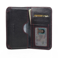 Leather Card Wallet for Samsung Galaxy S6 (Black Pebble Leather/Red Stitch)