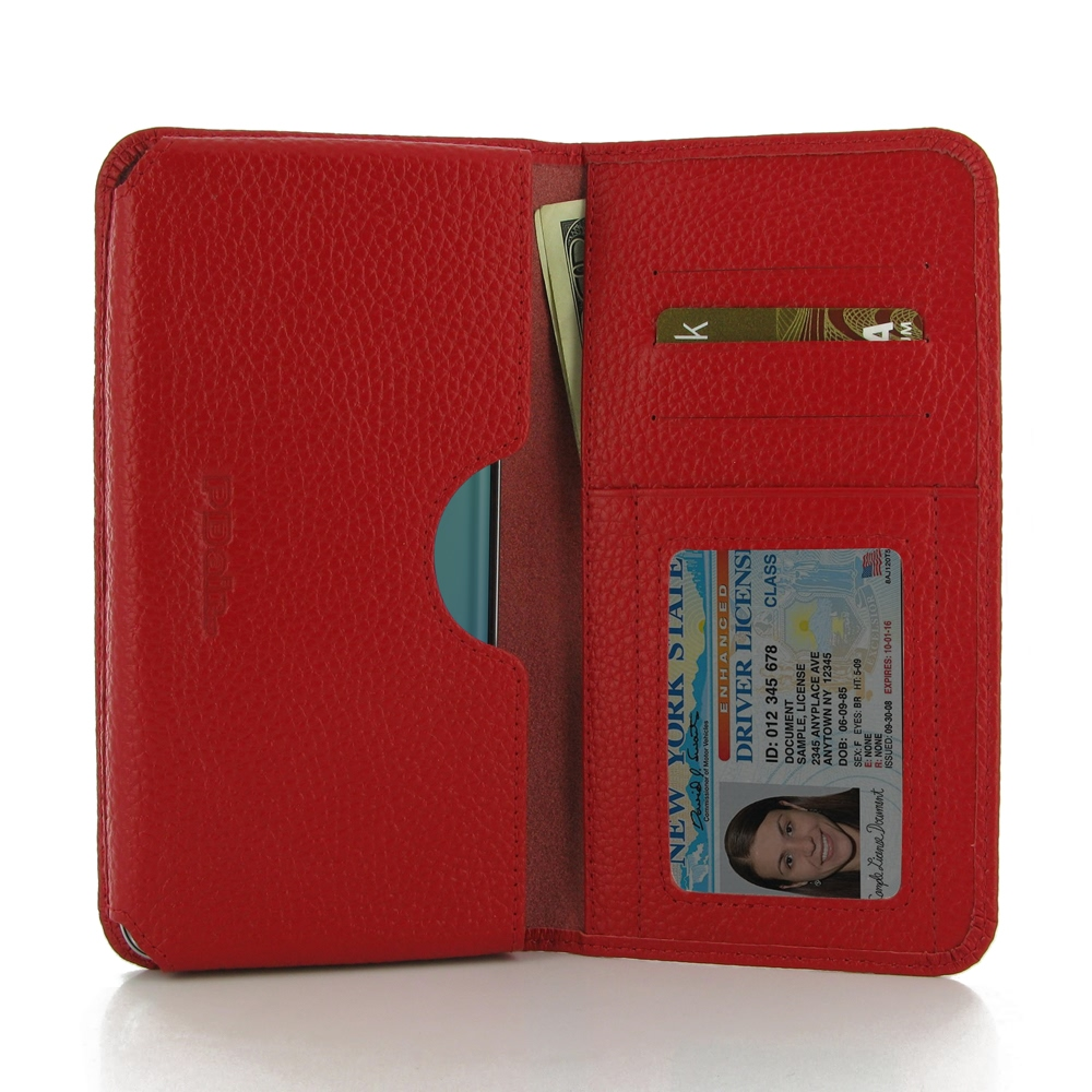 Samsung Galaxy S6 edge+ Plus Leather Wallet Sleeve Case (Red Pebble Leather) PDair Premium Hadmade Genuine Leather Protective Case Sleeve Wallet