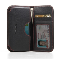 Leather Card Wallet for Samsung Galaxy Xcover 2 GT-S7710 (Red Stitch)