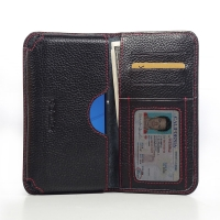 Leather Card Wallet for Sony Xperia E4 Dual E2104 (Black Pebble Leather/Red Stitch)