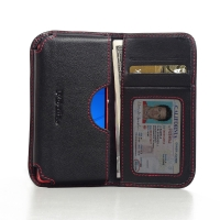 Sony Xperia Z3 Compact Leather Wallet Sleeve Case (Red Stitch) PDair Premium Hadmade Genuine Leather Protective Case Sleeve Wallet