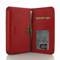 Leather Card Wallet for Xiaomi Redmi Note (Red Pebble Leather)