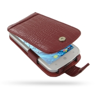 Acer Liquid E2 Duo Leather Flip Case (Red Croc Pattern) PDair Premium Hadmade Genuine Leather Protective Case Sleeve Wallet