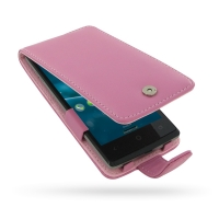 Acer Liquid E3 Leather Flip Case (Petal Pink) PDair Premium Hadmade Genuine Leather Protective Case Sleeve Wallet