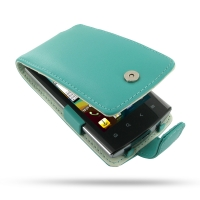 Acer Liquid Metal S120 Leather Flip Case (Aqua) PDair Premium Hadmade Genuine Leather Protective Case Sleeve Wallet