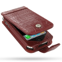 Leather Flip Case for Apple iPhone 3G | iPhone 3Gs (Red Crocodile Pattern)