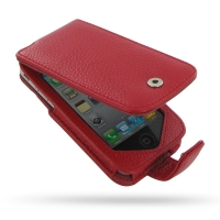 Leather Flip Case for Apple iPhone 4 | iPhone 4s (Snap Button) (Red Pebble Leather)