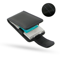 iPod nano 8th / nano 7th Leather Flip Case (Purple Stitch) PDair Premium Hadmade Genuine Leather Protective Case Sleeve Wallet