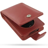 iPod Classic 2nd Leather Flip Case (Red) PDair Premium Hadmade Genuine Leather Protective Case Sleeve Wallet