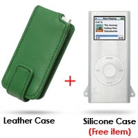 iPod nano 2nd Leather Flip Case (Green) PDair Premium Hadmade Genuine Leather Protective Case Sleeve Wallet