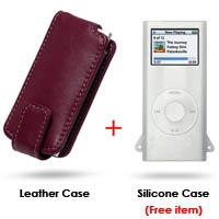 iPod nano 2nd Leather Flip Case (Red) PDair Premium Hadmade Genuine Leather Protective Case Sleeve Wallet