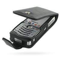 Leather Flip Case for BlackBerry 8130 8120 (Black)