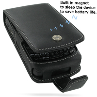Leather Flip Case for BlackBerry Curve 8350i (Black)