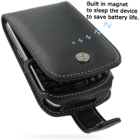 Leather Flip Case for BlackBerry Curve 8900 Javelin (Black)