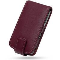 BlackBerry Pearl 8100 Leather Flip Case (Red) PDair Premium Hadmade Genuine Leather Protective Case Sleeve Wallet