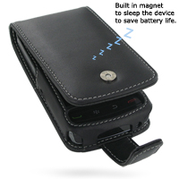 Leather Flip Case for BlackBerry Storm 2 9550 9520 (Black)