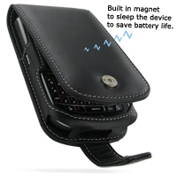 Leather Flip Case for BlackBerry Tour 9630 (Black)