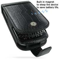 Leather Flip Case for BlackBerry Tour 9630 (Black Crocodile Pattern)