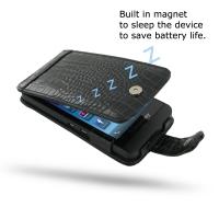 BlackBerry Z10 Leather Flip Case (Black Croc Pattern) PDair Premium Hadmade Genuine Leather Protective Case Sleeve Wallet