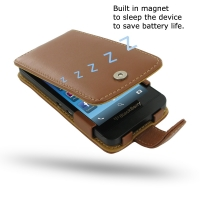 BlackBerry Z10 Leather Flip Case (Brown) PDair Premium Hadmade Genuine Leather Protective Case Sleeve Wallet
