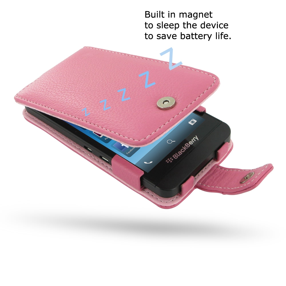 BlackBerry Z10 Leather Flip Case (Petal Pink Pebble Leather) :: PDair